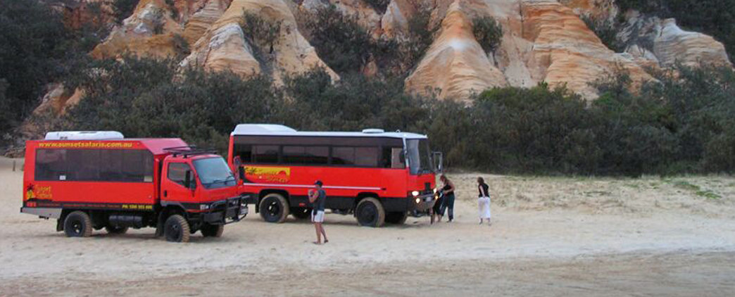 Austin Powers the 4WD Bus crossing a creek - Fraser Island